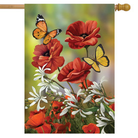 Hello Spring Butterflies House Flag