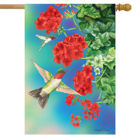 Hummingbirds Spring House Flag