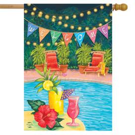 Poolside Paradise Summer House Flag