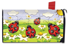 Springtime Ladybugs Seasonal Large / Oversizwed Magnetic Mailbox Cover