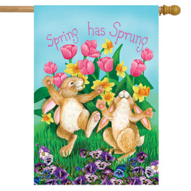 Spring Has Sprung Rabbits House Flag