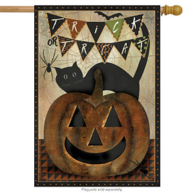 Trick Or Treat Primitive House Flag