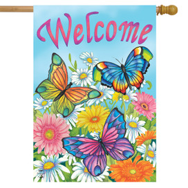 Spring Butterflies Welcome House Flag