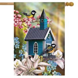 Peaceful Birdhouse Spring House Flag