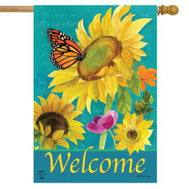 Monarch and Sunflowers Spring House Flag