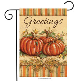 Fall Greetings Pumpkins Garden Flag