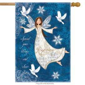 Rejoice Angel Winter House Flag