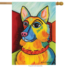 Pawcasso German Shepherd Dog House Flag