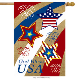 God Bless USA Burlap House Flag