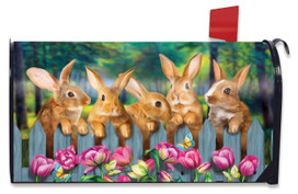 Garden Bunnies Large Mailbox Cover