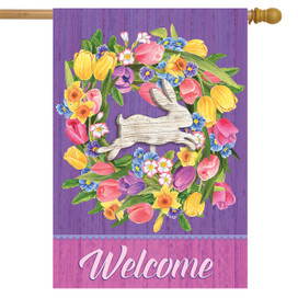 Bunny Wreath Welcome House Flag