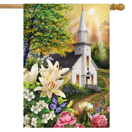 Spring Church Religious House Flag