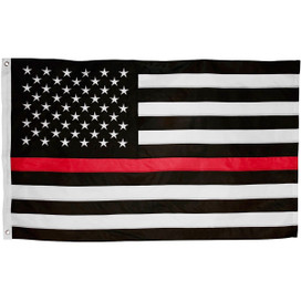 Thin Red Line Embroidered Grommet Flag