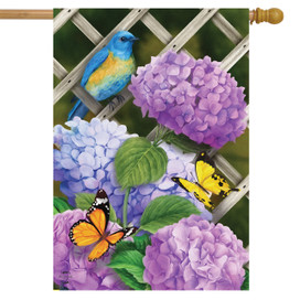 Hydrangea Gathering House Flag