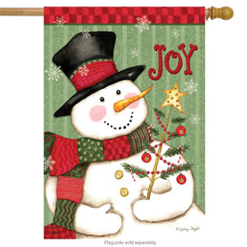 Snowman Joy Christmas House Flag
