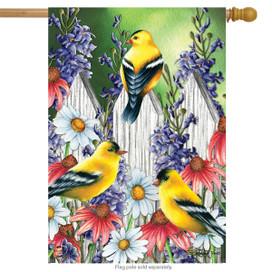 Goldfinch Trio Spring House Flag