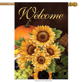 Welcome Fall Sunflowers House Flag