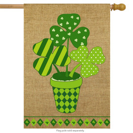 Potted Shamrock Burlap St. Patrick's Day House Flag