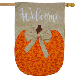 Autumn Pumpkin Burlap House Flag