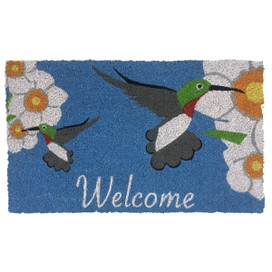 Hummingbirds Spring Natural Fiber Coir Doormat