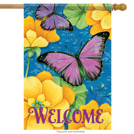 Purple & Gold Spring Welcome House Flag