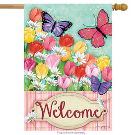 Butterflies and Tulips Spring House Flag