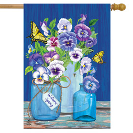 Butterflies and Pansies Spring House Flag