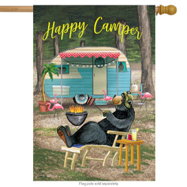 Happy Camper Bear Summer House Flag