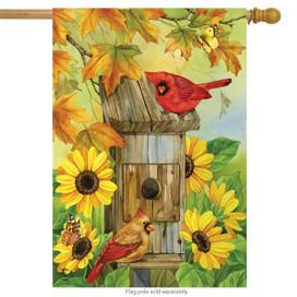 Cardinals & Sunflowers Autumn House Flag