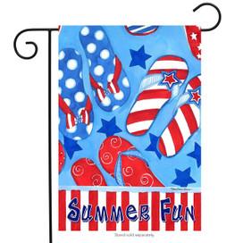 Summer Fun Flip Flops Patriotic Garden Flag