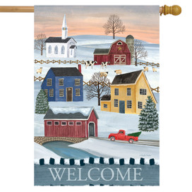 Winter Saltboxes Primitive House Flag
