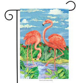Bamboo Flamingos Summer Garden Flag