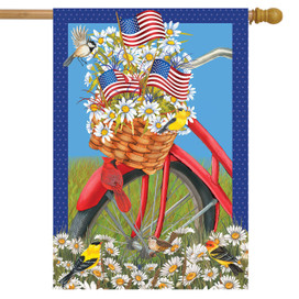 Spring Bicycle Patriotic House Flag