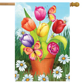Potted Tulips Spring House Flag