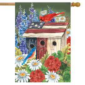 Patriotic Gathering Spring House Flag