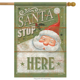 Santa Stop Here Christmas Holiday House Flag