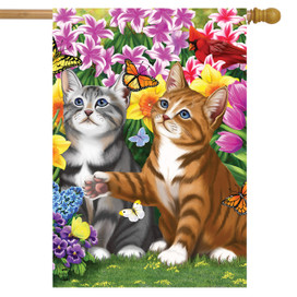 Garden Kittens Spring House Flag