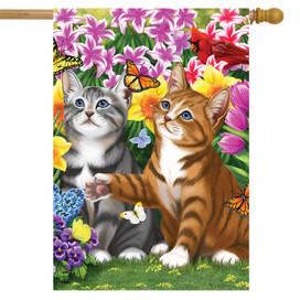 Garden Kittens Spring House Flag