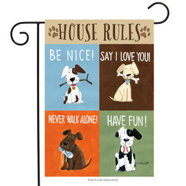House Rules Dog Humor Garden Flag