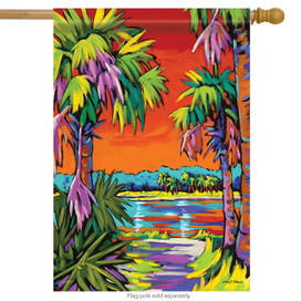 Coastal Sunset Summer House Flag