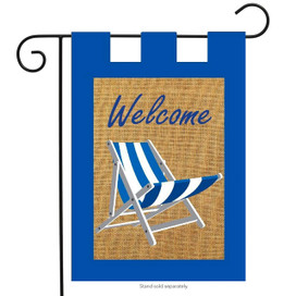 Adirondack Welcome Summer Burlap Garden Flag