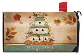 Welcome Fall Birdhouse Primitive Mailbox Cover