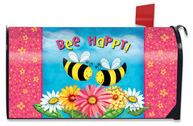 Bee Happy Bees Spring Large / Oversized Mailbox Cover