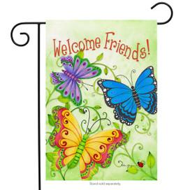 Butterfly Welcome Friends Spring Garden Flag