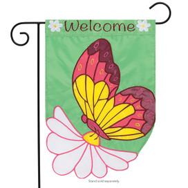 Daisy Butterfly Welcome Garden Flag