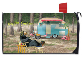 Happy Camper Bear Mailbox Cover