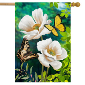 Butterflies and Poppies Spring House Flag