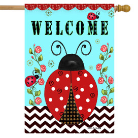 Welcome Ladybugs Spring House Flag
