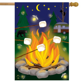 Campfire S'mores Summer House Flag