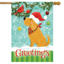 Christmas Doggy Greetings House Flag
